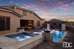 raised-spa-pool-colored-water-feature-sunken-ramada-Gilbert-AZ-PRIMARY